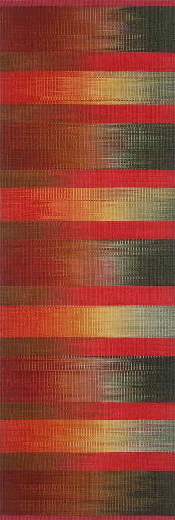 'Sundown Rocks' (2011) wool ikat rug by Florida-based weaver & textile designer Connie Enzmann-Forneris. 26 x 75 in. via the artist's site