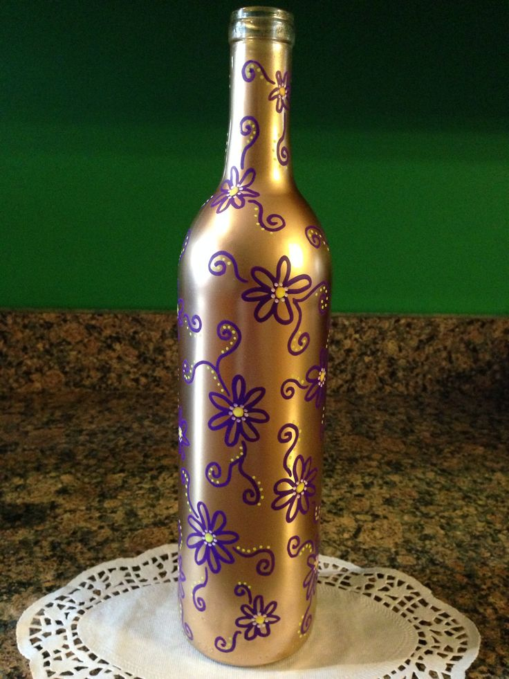 Purple yellow flowers on gold bottle hand painted wine for Painting flowers on wine bottles