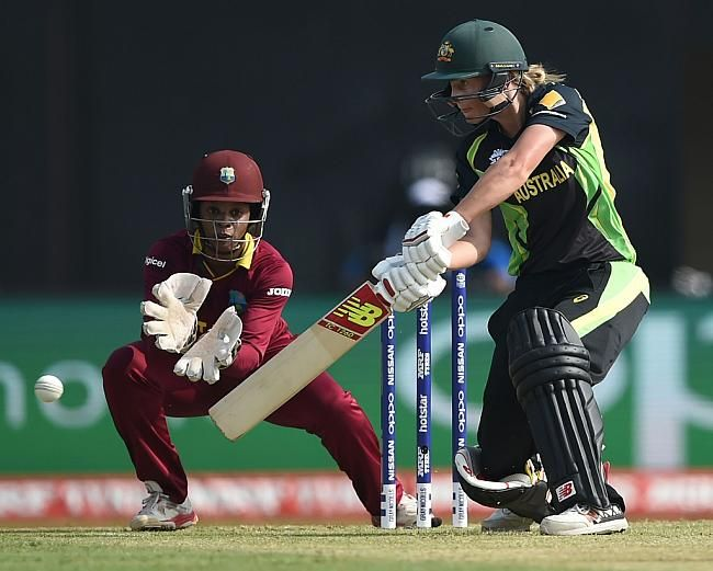 Meg Lanning scored a brisk 52 (with 8 fours) before she was dismissed lbw by Anisa Mohammed.