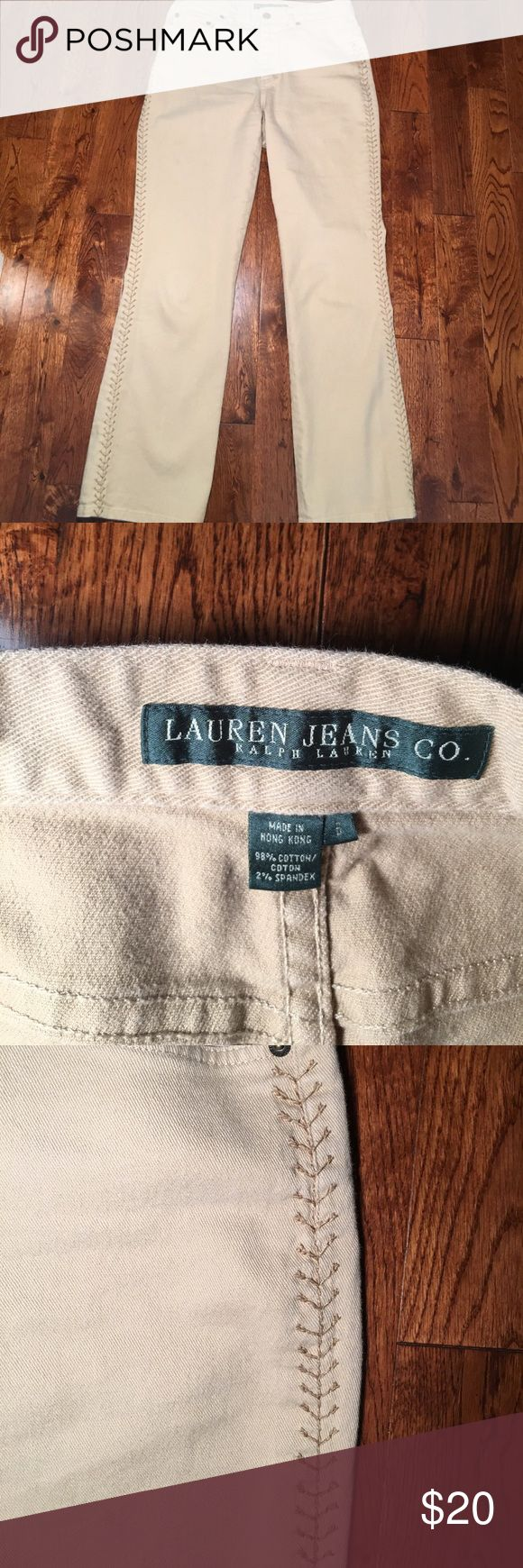 Ralph Lauren Tan Jeans w/ embellishments. Size 6 Tan Ralph Lauren Jeans see pic if arrow stitched embellishments going down leg. Really Cute pant. Lightly worn Lauren Jeans Co. Ralph Lauren Jeans
