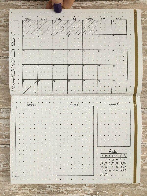 Disposition en grille et colonne nécessitant de pivoter le carnet pour tous les éléments chez Page Flutter (en cliquant sur le lien, vous accéderez à leur propre sélection de modèles mensuels)