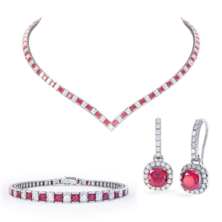 Princess Ruby and White Sapphire Platinum plated Silver Jewellery Set