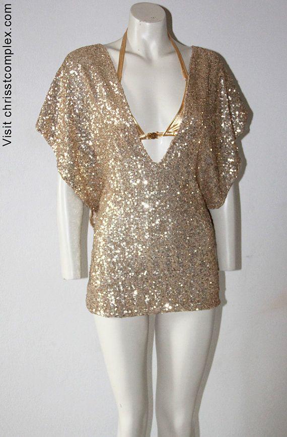 Party Dress Kaftan Sequin Gold Summer Dress Tunic 2040 by chrisst