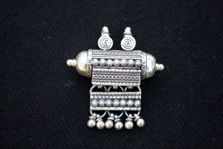 Silver Rajasthani traditional pendant / amulet by EastOfEdan on Etsy