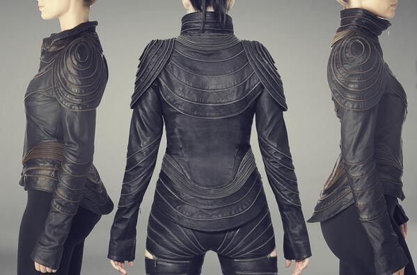 Galerah designs. Texture leather jacket. Interesting seam lines.