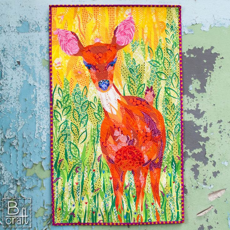 Art quilt with roe deer.