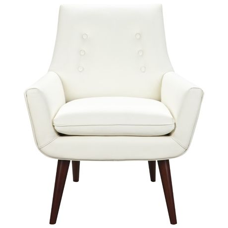 Retro leather arm chair in ivory leather - modern and easy to wipe clean, or a recipe for sticky little paws?