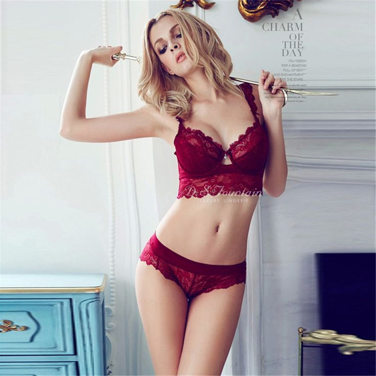 Newest Winter Wine Red Lace Bra Adjustment Ultra-thin Side Gathering Push Up Women's Bra Briefs Set Sexy Lace Underwear bra