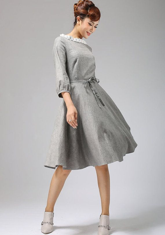 gray linen midi dress with lace collar 671 by xiaolizi on Etsy
