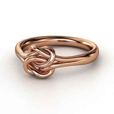 14K Rose Gold Ring  - Plain Lover's Knot Ring | Gemvara ...