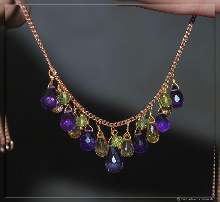 """Купить позолоченный комплект с натуральными камнями """"Прованс"""" - комбинированный, комплект украшений, украшения с камнями"""