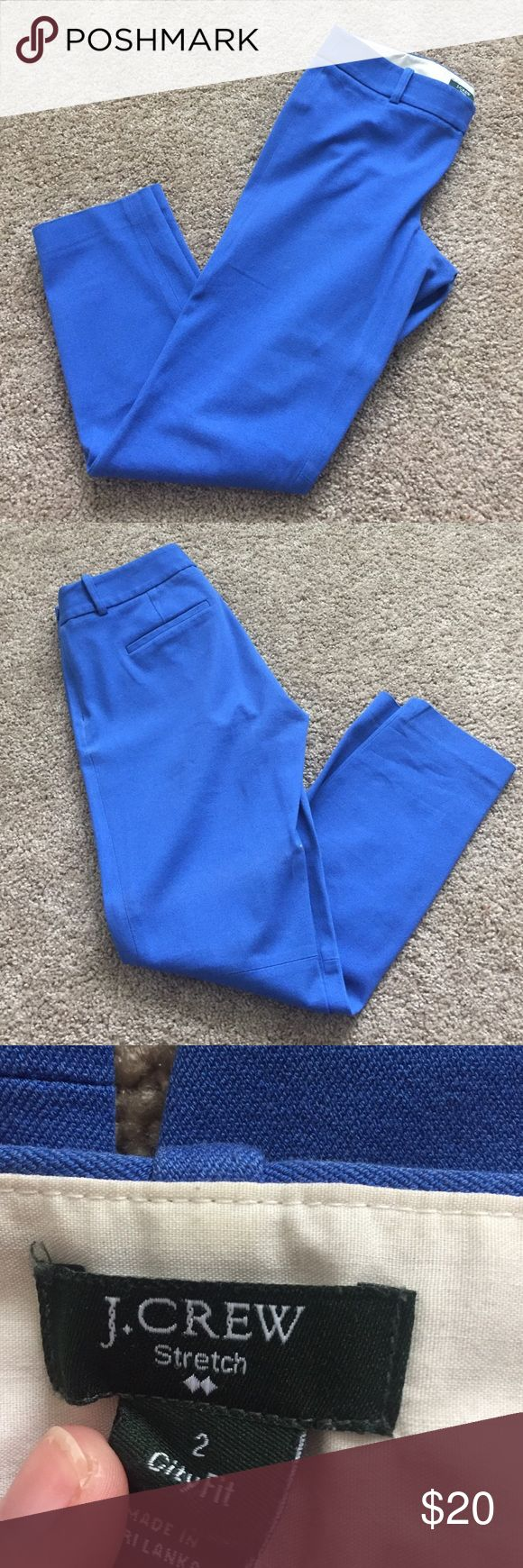 J. Crew City Fit Pant J. Crew - City Fit - Size 2 - Side Zip - Cobalt Blue - cropped J. Crew Pants Ankle & Cropped