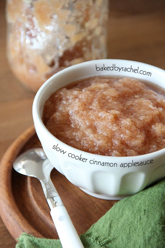 Slow Cooker Cinnamon Applesauce Recipe from bakedbyrachel.com