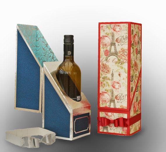 SVG Wine Bottle Gift Box DIGITAL download by MySVGHUT on Etsy