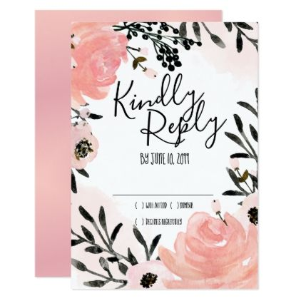 Boho Blush Rose Wedding RSVP Response Cards - spring wedding diy marriage customize personalize couple idea individuel