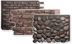Get an authentic look without a budget-breaking cost by using decorative panels made from molds of actual stone