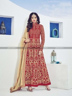 Red Raw Silk Anarkali Salwar Suit