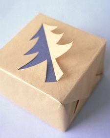 Creative gift wrap idea: Christmas Tree Silhouette