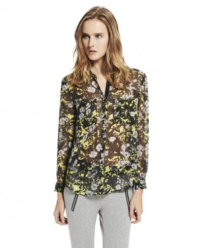 "Flowing shirt with ""Graphic Flowers"" print"