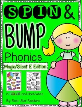 What do I get?This packet includes 5 Spin&Bump games focusing on Magic/Silent E. All vowels are included.Each game comes in black and white (printer friendly!) or colored (for printing&laminating to be used over and over).The 5 games included are:magic e words with long a & imagic e words with long a, i, o #1magic e words with long a, i, o #2all magic e vowels #1all magic e words #2These are GREAT for literacy centers, homework practice, and can even be used independently (just...