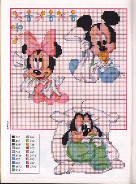 Bebés Disney para punto de cruz.
