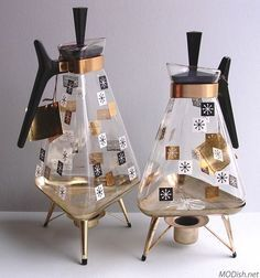 """Inland Glass Works """"Golden Triangle"""" starburst motif carafes with warmers, 8 and 12 cup models."""