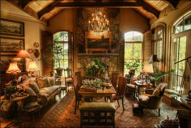 Rich Furniture Interior Design ~ Old world house on lake toxaway plantation shutters