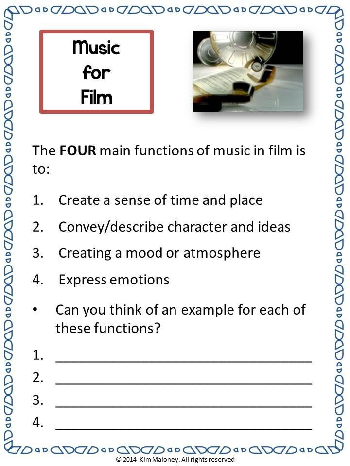 A unit for general music classes. An Introduction to music for film!