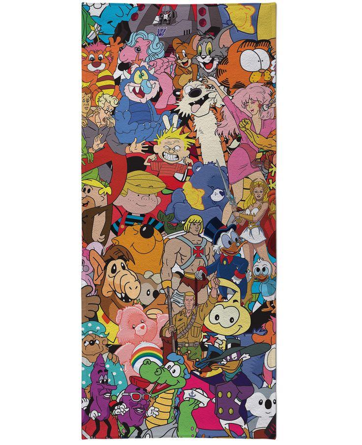 80's Cartoon Collage Beach Towel