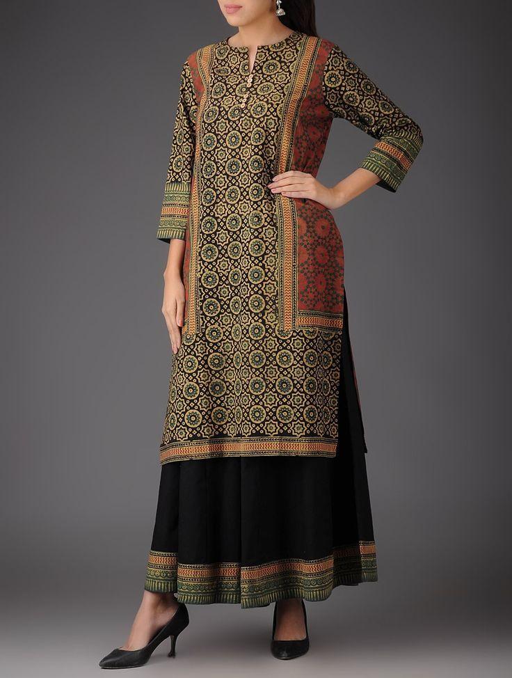 Buy Red Black Green Ecru Ajrakh Cotton Kurta with Palazzos & Dupatta (Set of 3) Online at Jaypore.com