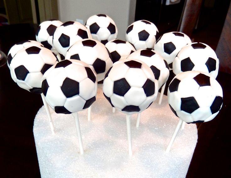 Soccer ball cake pops.