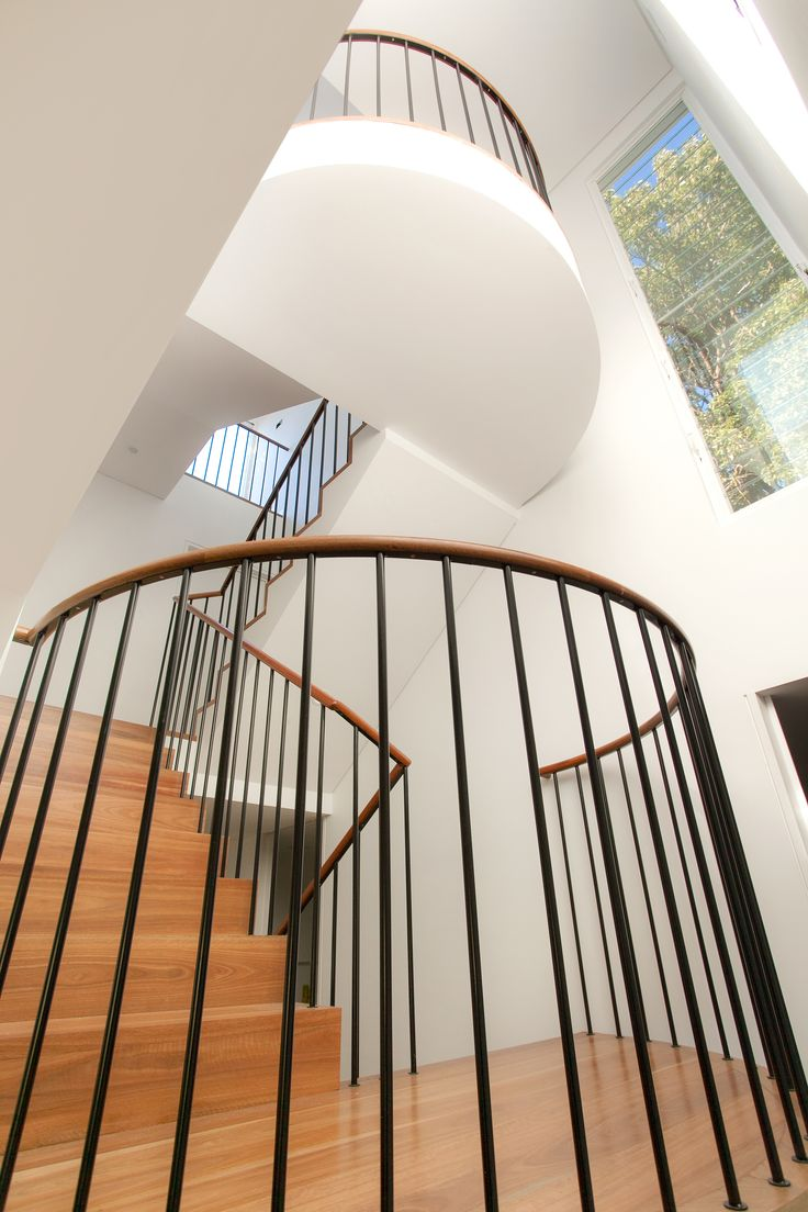 Unique staircase with suspended landings