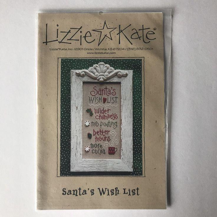 Christmas Lizzie Kate Santa's Wish List Cross Stitch Chart Pattern  | eBay