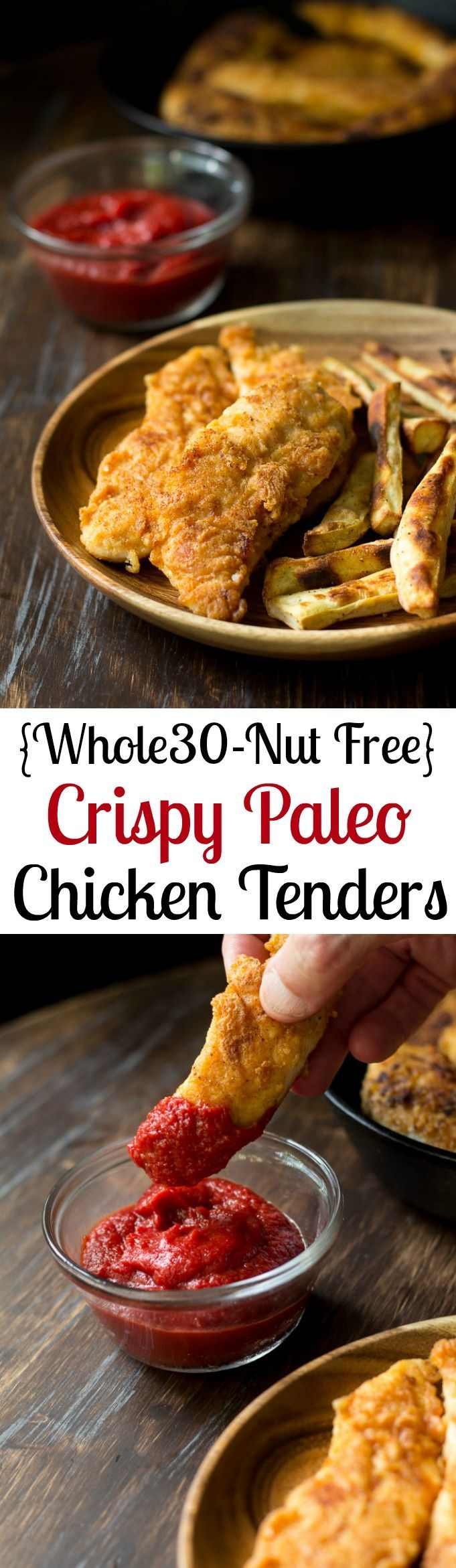 Crispy Paleo Chicken Tenders that are Whole30 friendly, and %22breaded%22 with a savory mixture of cassava, coconut flour and spices for amazing grain free, nut free crispy chicken tenders! (Paleo Chicken)