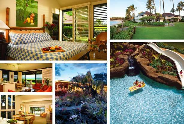 Hotels in Kauai next to Poipu Beach Park. This one is Castle Kiahuna Plantation & The Beach Bungalows in Koloa