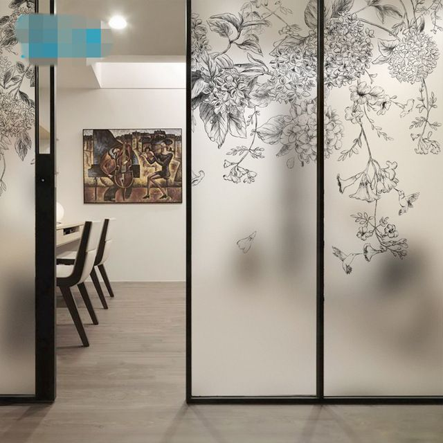 Decorative self adhesive/static cling frosted stained window film custom sticker black sketch in early summer