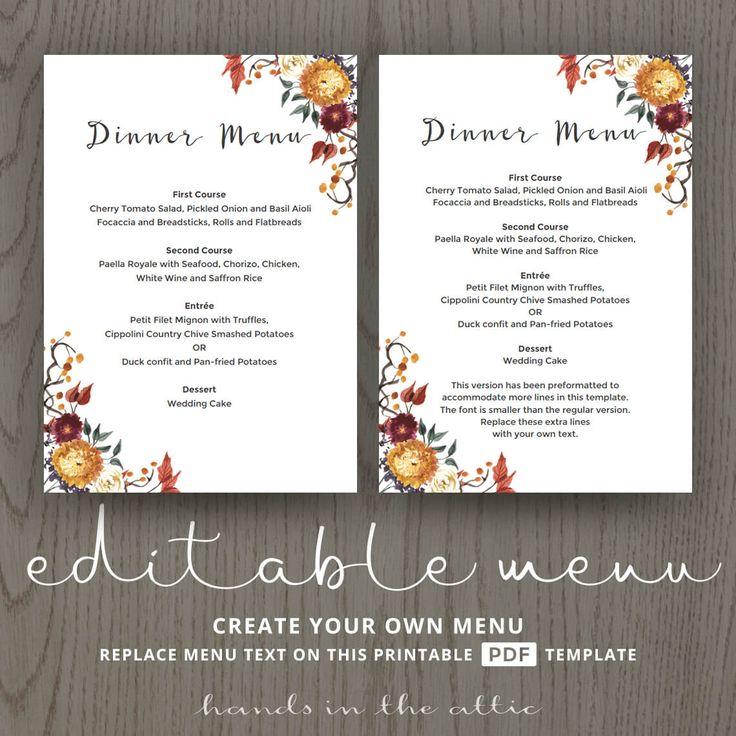 69 best Wedding Menu Cards images on Pinterest Wedding menu - menus templates free