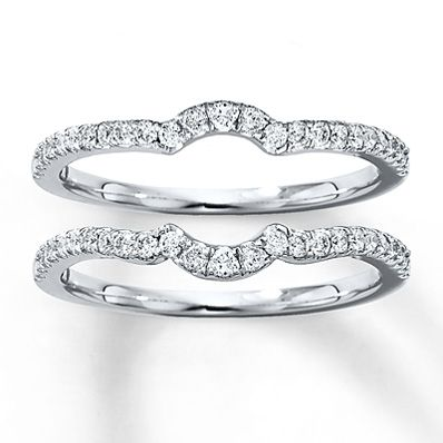 A Single Row Of Diamonds Curves Along Each These Matching Double Wedding Bands For Her Crafted In White Gold Rings Have Total Diamond Weight