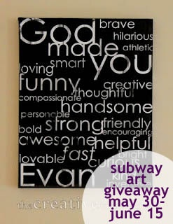 subway art canvas giveaway at the creative imperative!
