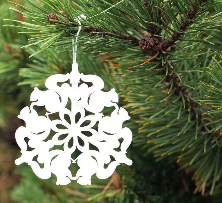 Tree Ornament - Squirrel Snowflake