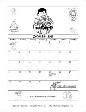 2014 Calendar Year - Printable Coloring Calendar: December 2014 Coloring Calendar