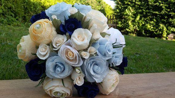 Light Blue Ivory Green White Wedding Bride Bouquet by moniaflowers