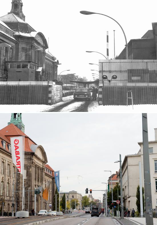 East German border police at Invalidenstraße/Sandkrugbrücke crossing in 1971. Today, the Ministry of Economy and Technology is located there.The Berlin Wall: Photos of then and now The Local