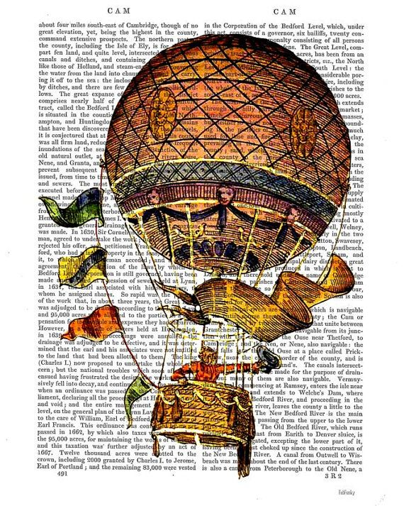 Vintage Hot Air Balloon Print with Flags, Digital Art Print Illustration Mixed Media Original Print wall art wall decor wall hanging