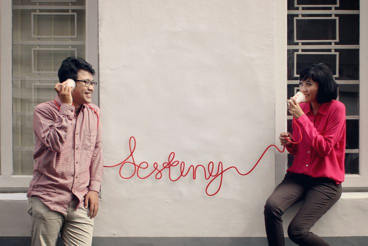 It's my pre wedding photo, did by my friend Wiwit and edited by me. This picture told the story about us when we started to do long distance relationship. All the messages were sent through the wire.