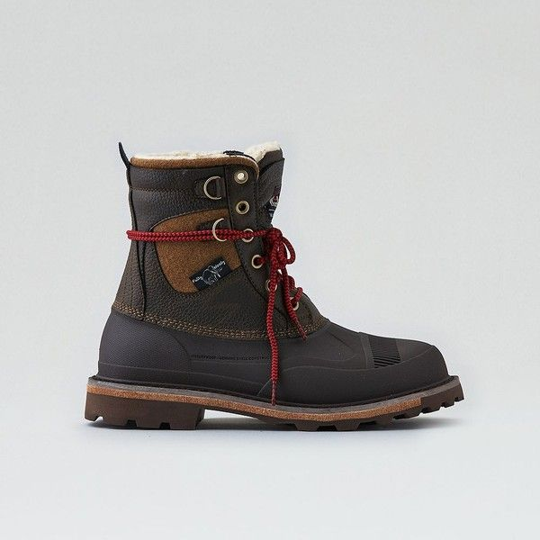 Woolrich Fully Wooly Snow Boot ($160) ❤ liked on Polyvore featuring men's fashion, men's shoes, men's boots, brown, mens brown shoes, mens waterproof boots, mens leather shoes, mens waterproof snow boots and mens waterproof leather boots