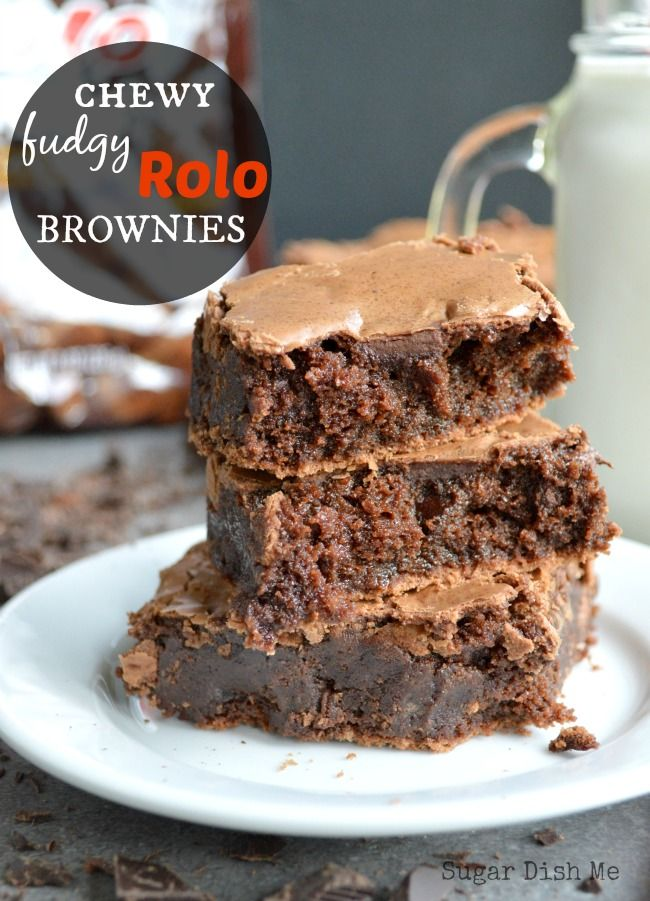Chewy Fudgy Rolo Brownies - the richest fudgiest from-scratch brownies ever, stuffed with mini Rolos and chocolate chunks