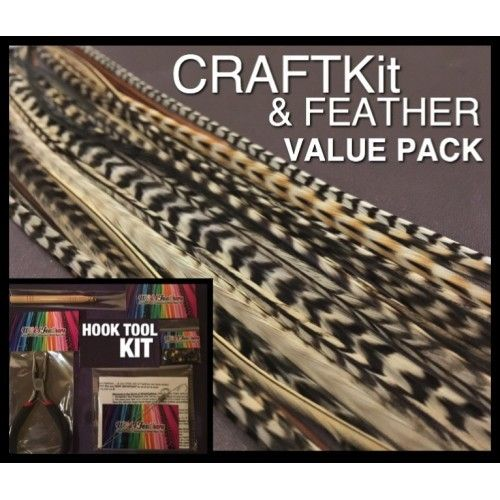 Feather Hair Extensions & CraftKit SPECIAL Blonde Naturals Wide Skinny Mix