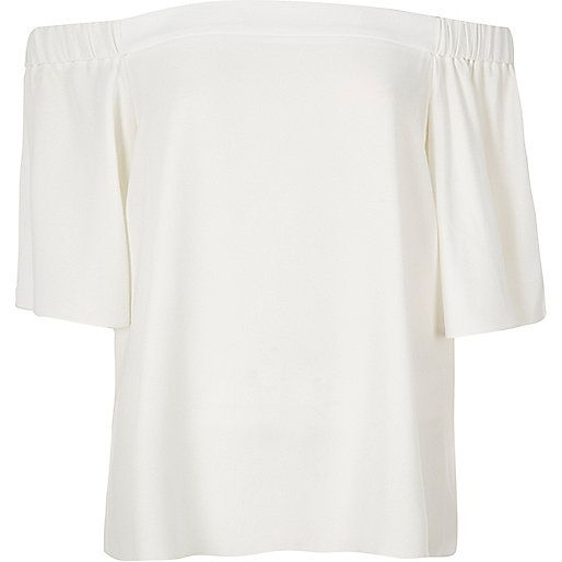 Cream bardot top - bardot / cold shoulder tops - tops - women