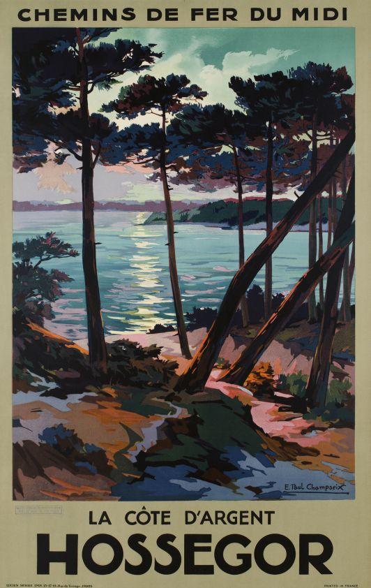 Hossegor, la côte d'argent, chemin de fer du Midi - Vintage Posters - Galerie 123 - The place to find vintage art